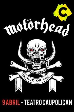 Motörhead - Teatro Caupolicán. Logotipo de Motorhead compuesto por calavera con enormes colmillos y tibias cruzadas