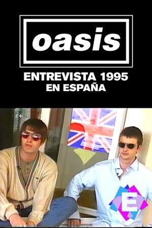 Oasis - Entrevista España 1995. Liam y Noel Gallagher sentados delante de una bandera británica