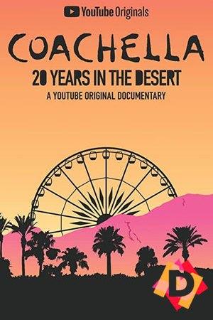 Coachella: 20 Years in the Desert. dibujo de palmeras con una montaña y noria al fondo con un cielo amarillo