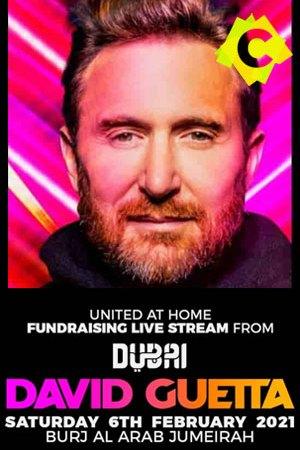 David Guetta - United at Home. david guetta en primer plano pelirojo y fondo rosa