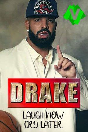 Drake con gorra de los Raptors, bola de baloncesto y dedo indice levantado