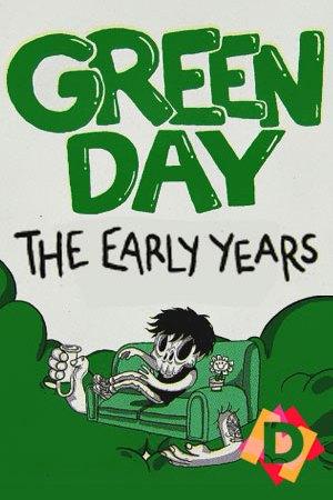 Green Day - The Early Years. dibujo de green day en verde y blanco
