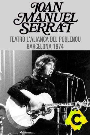 Joan Manuel Serrat - Teatro l'Aliança Del Poblenou. Joan Manuel serrat tocando la guitarra y cantando de joven foto en blanco y negro