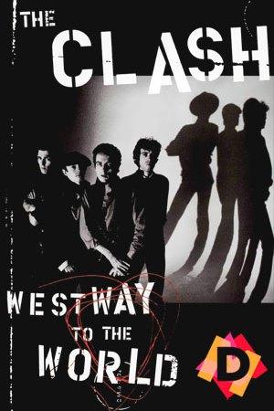 The Clash - Westway To The World -The clasch de pie en blanco y negro con su sombra de fondo