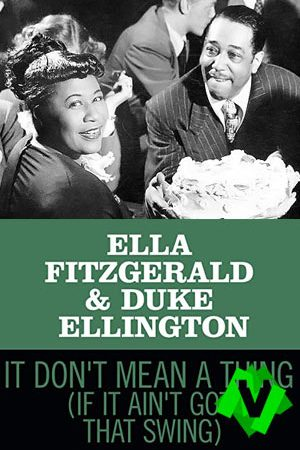 Ella Fitzgerald y Duke Ellington sonrientes y con una tarta