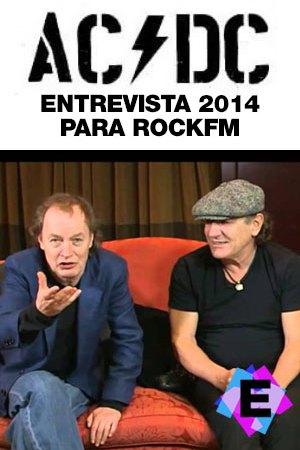 AC/DC - En RockFM. Brian Johnson y Angus Young sentados en un sofá rojo