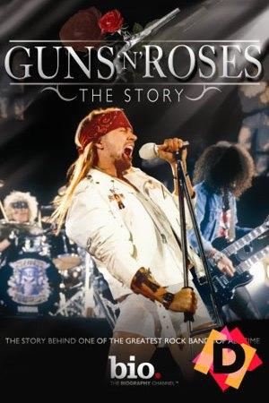 Guns N´ Roses - The Story - Bio Channel - axl rose cantando en primer plano vestido de blanco y una cinta roja en la cabeza