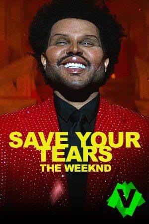 El cantante The Weeknd con chaqueta roja de brillantes y la cara hinchada por una operación de estética
