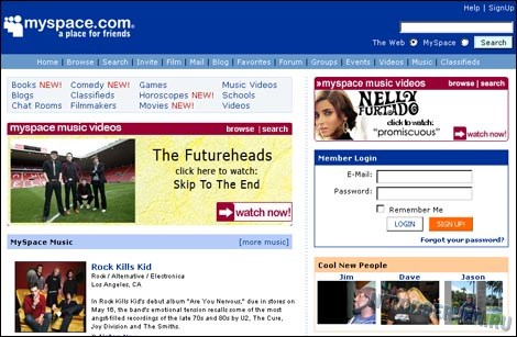 cоциальная сеть myspace в 2006