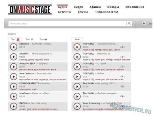 Музыкальная социальная сеть onmusicstage: топ аудио