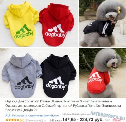Одежда для собак в Интернете