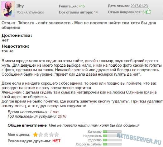 Негативный отзыв о сайте знакомств Tabor.ru номер 3