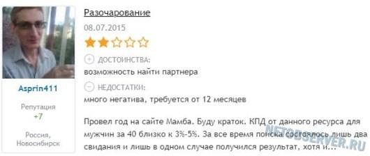Отзыв с сайта №2 - разочарование от Mamba.ru