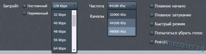 Расширенные настройки на online-audio-converter.com