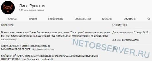 Лиса Рулит - статистика канала