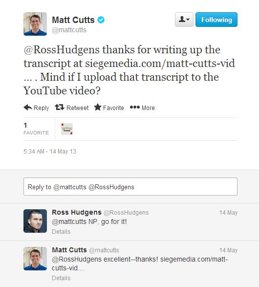 matt cuts reply with tweet