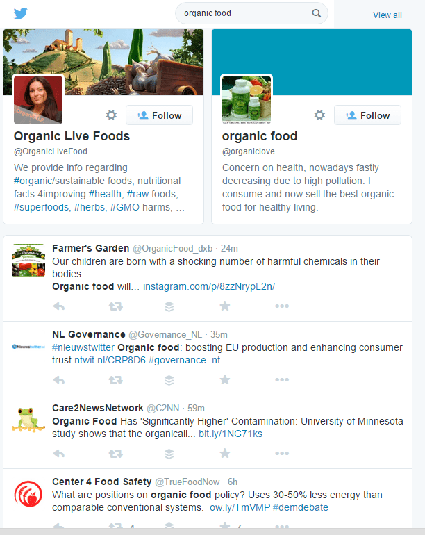see organic food in twitter