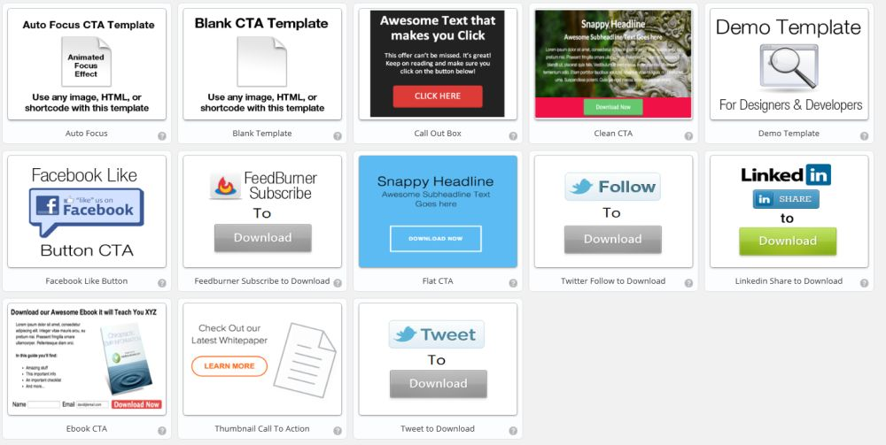 CTA options page