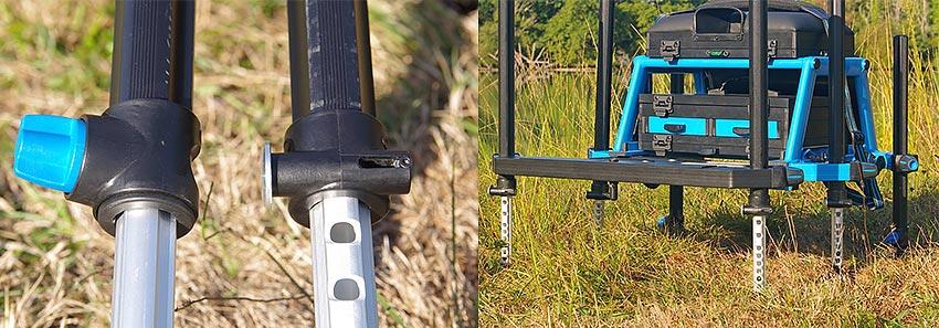 matériel de pêche au coup station garbolino gbc 36 système serrage blocage pied telescopique