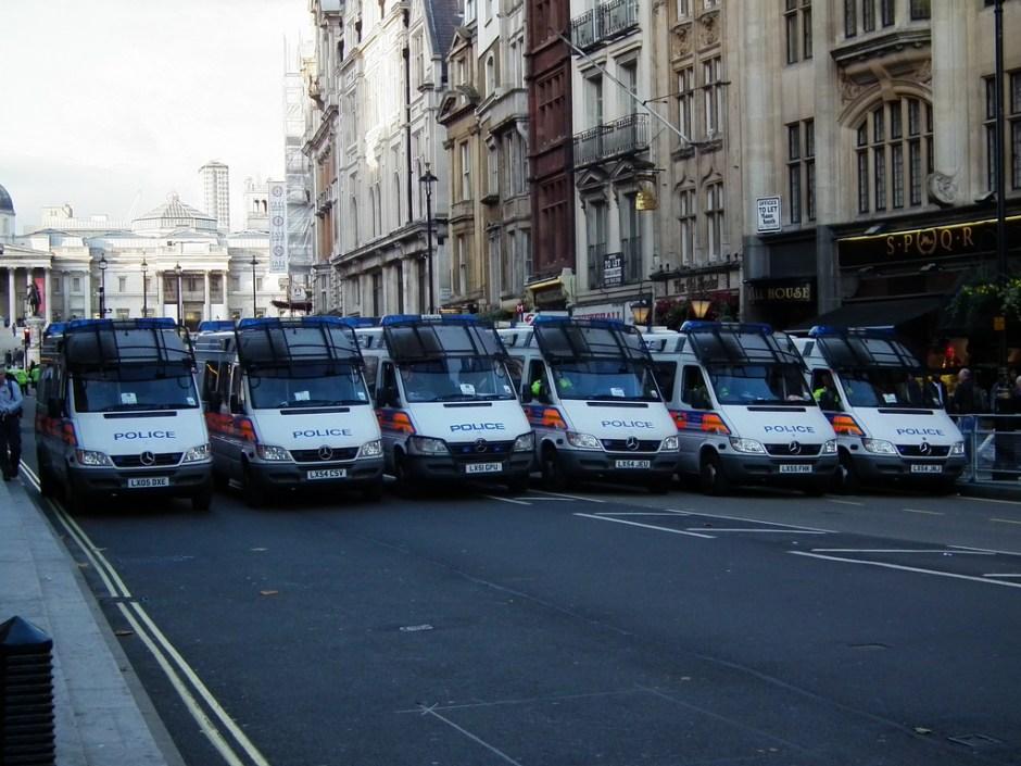 Police cordon on Whitehall. PHOTO: Kenneth John Brown on Flickr