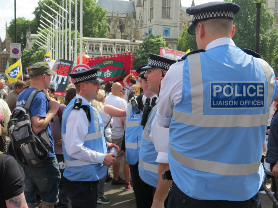 Police Liaison Officers at the March against Austerity in June 2014. PHOTO: Netpol