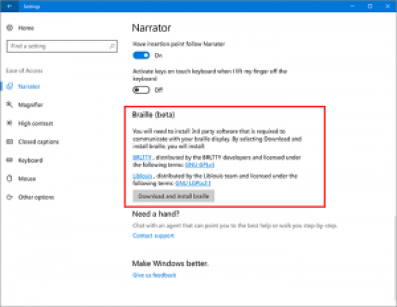 narrador de windows 10 creators update