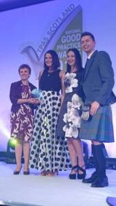 Catherine & Katie collecting award with Sean Batty