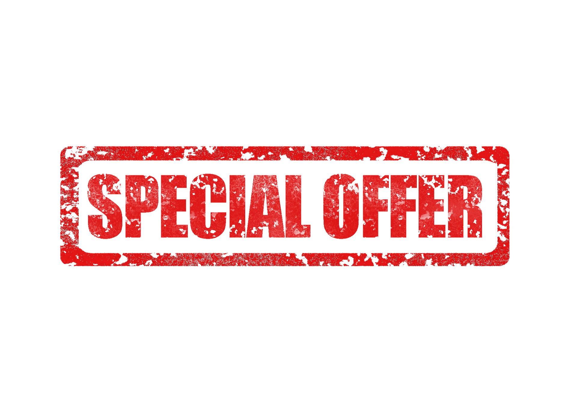 Banner in red illustrated like a rubber stamp saying Special Offer