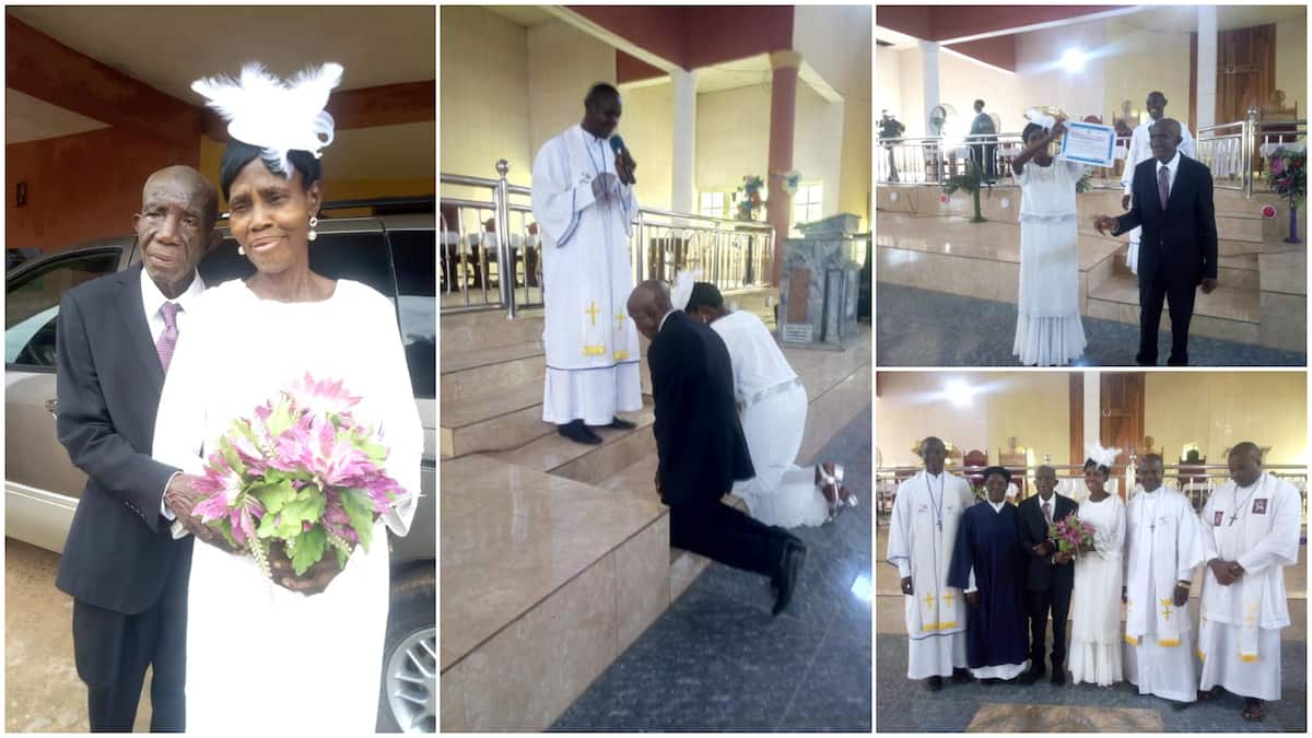 99-year-old Nigerian man marries his 86-year-old lover in church wedding ceremony