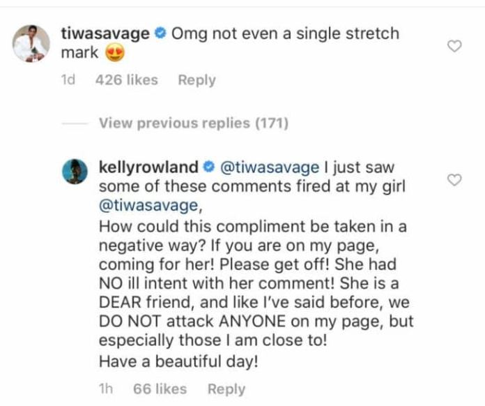 Kelly Rowland defends Tiwa Savage after trolls dragged her over stretch marks comment (screenshot)