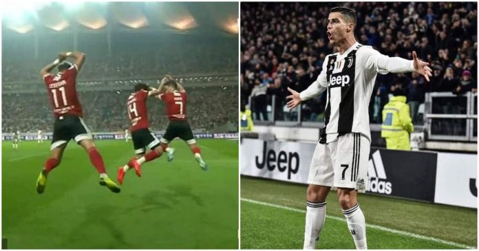 Image result for Striker scores against Juventus, copies Ronaldo's celebration as Portuguese watches in awe.