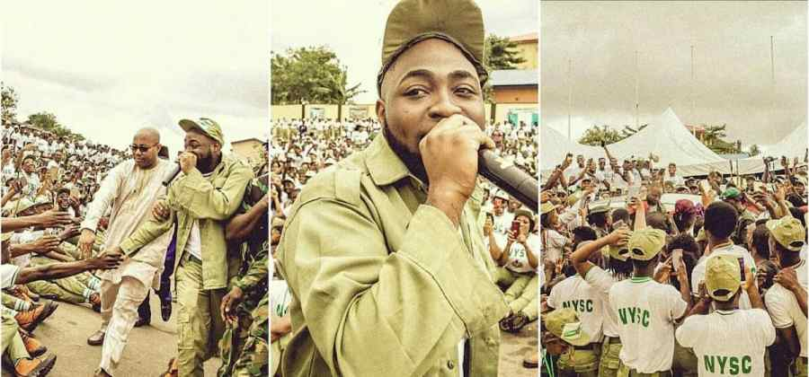 Davido at orientation camp in Lagos