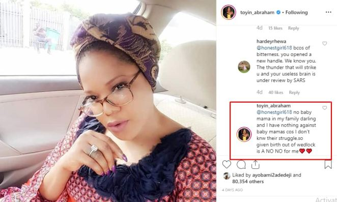 Giving birth out of wedlock is a no no for me - Toyin Abraham tells inquisitive fan