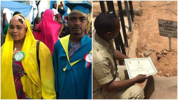 Man presents his NYSC certificate to his late mum at her grave (Photos)