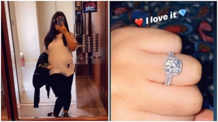 Pregnant Nina shows off current figure as she flaunts her wedding ring