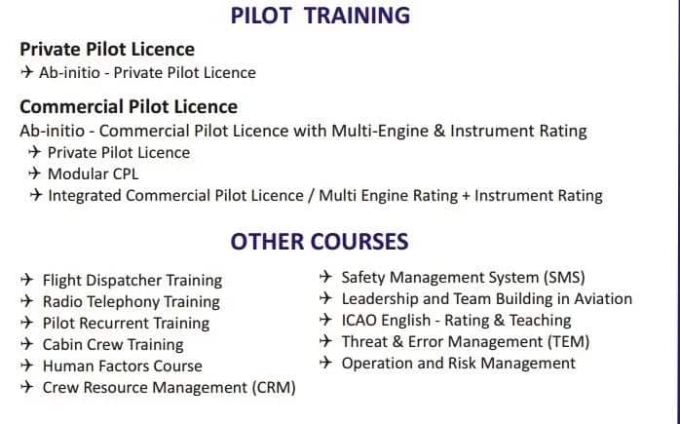 The International Aviation College courses