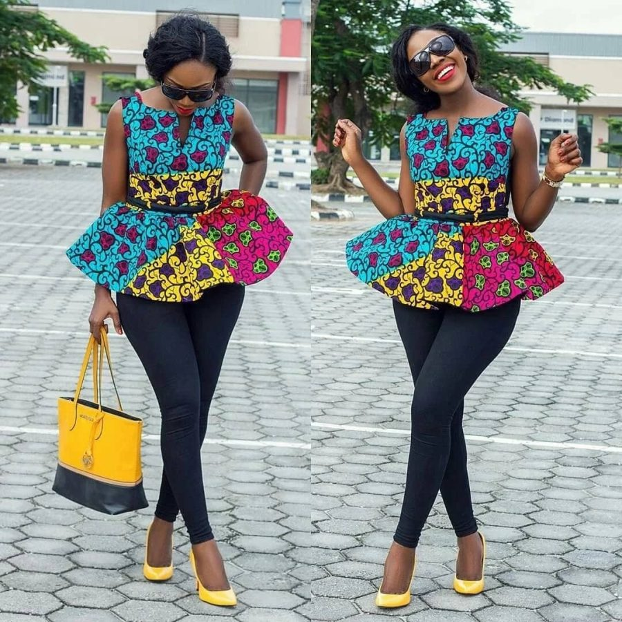 Ankara peplum blouse on jeans: best designs 2017-2018