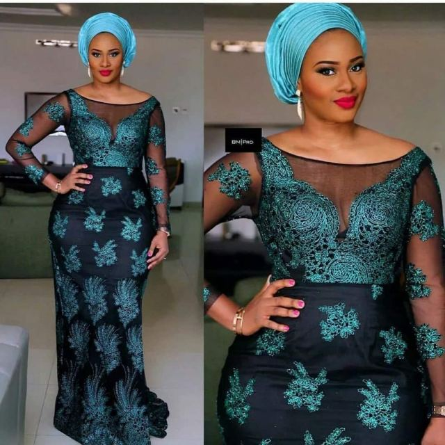 Fashion in Nigerian traditional styles: French lace