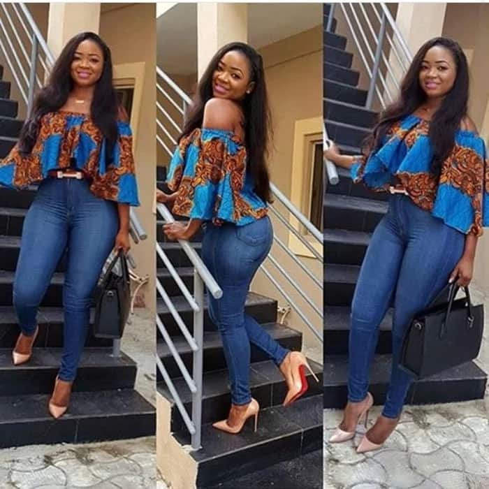 Ankara crop top with jeans