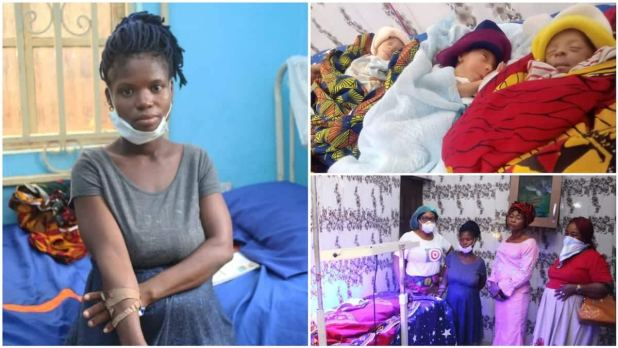 Stranded 20-year-old woman cries for help after delivering triplets