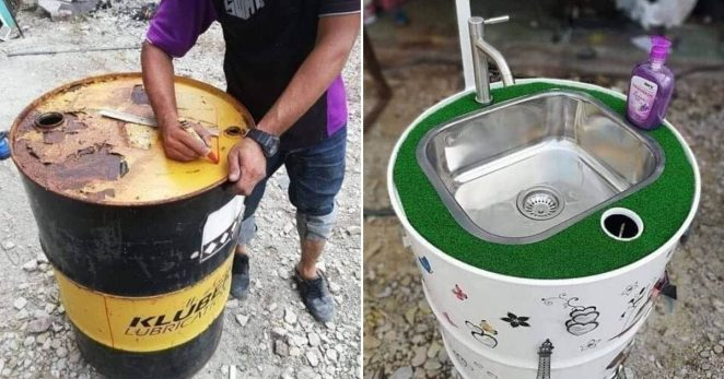 Image result for COVID-19: Creative Ghanaian Man Turns Metallic Drums into Hand-washing Sinks at Bus Stops [PHOTOS]