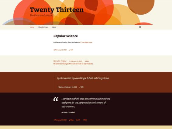 Twenty Thirteen standardtema fra WordPress