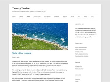 Twenty Twelve standardtema fra WordPress