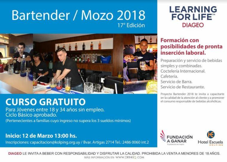 Diageo invita a jóvenes mayores de edad a capacitarse en forma gratuita como Bartender/Mozo