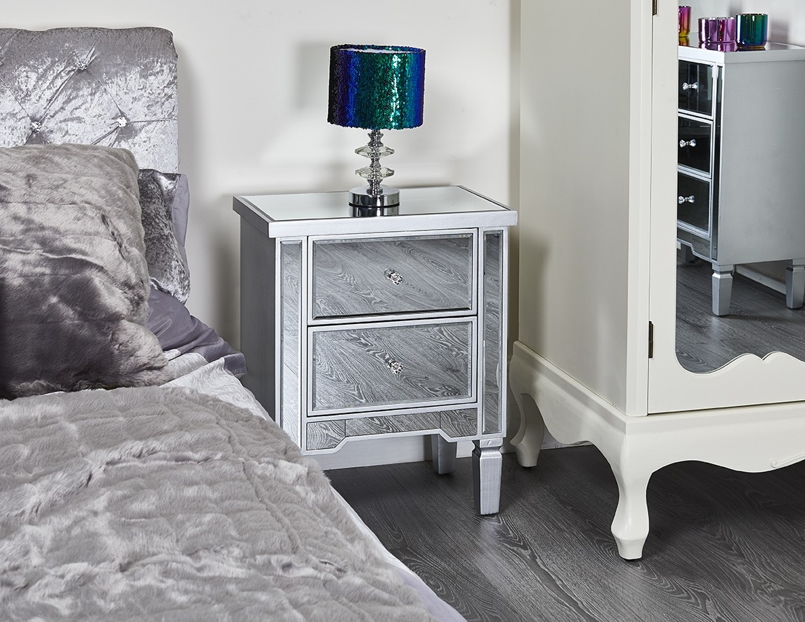 Glass Bedside French Nightstand Venetian Table Chest 2