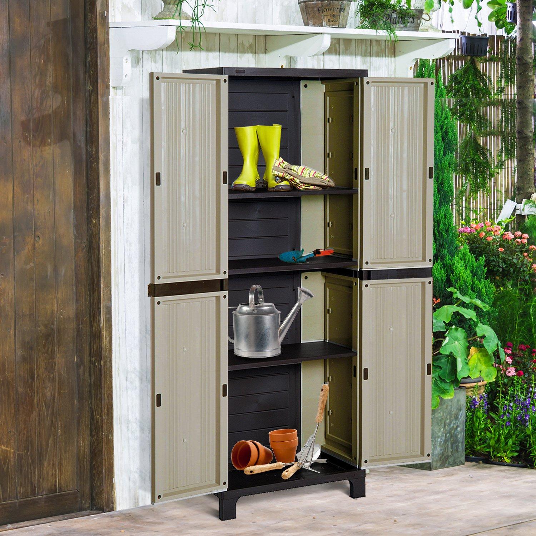 Garden Storage Cupboard Outdoor Utility Cabinet Waterproof Plastic Shelves Shed 7426965427028 Ebay