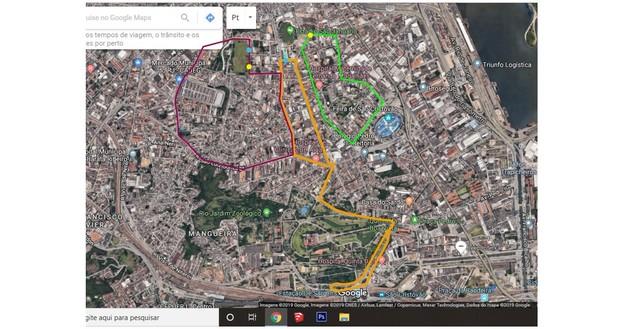 Linhas de ônibus propostas pelo Vasco em dias de jogos