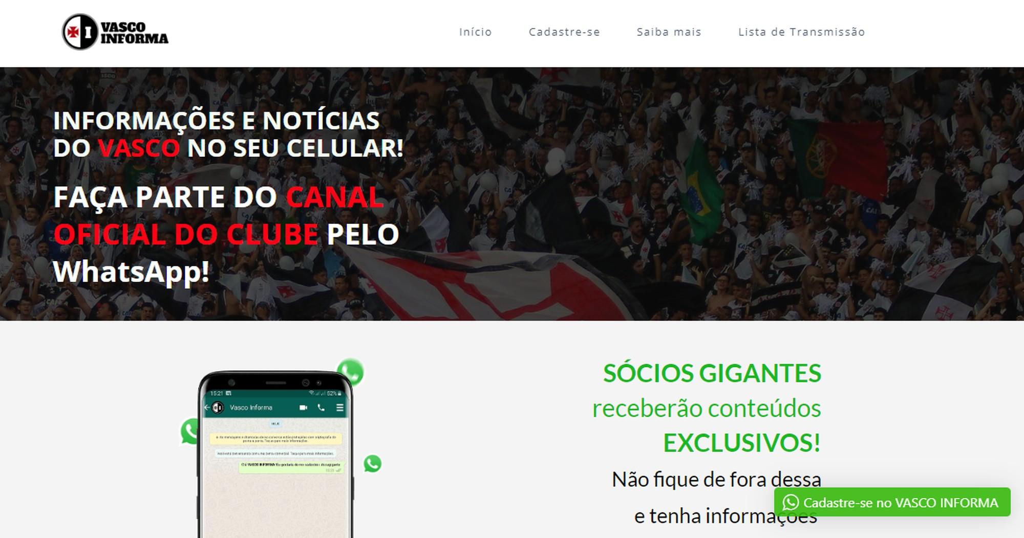 Vasco Informa é o novo canal de comunicação do clube com o seu torcedor