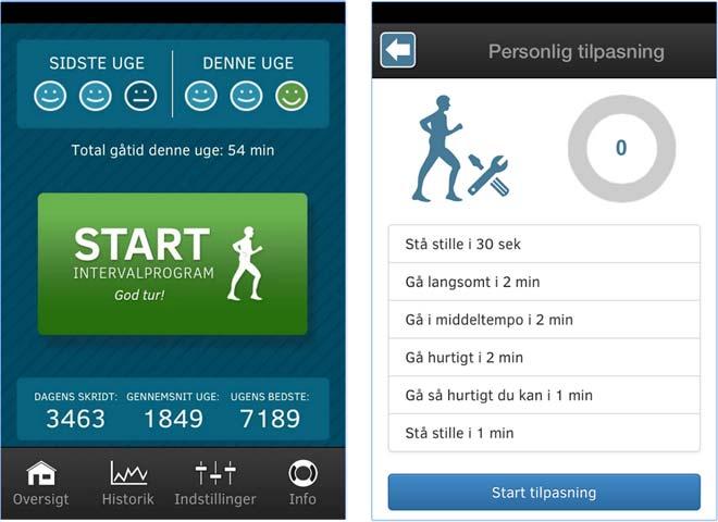 To skærmbilleder af Interwalk-app. Det ene viser startsiden på app'en, det andet viser en træningsplan.