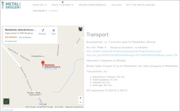 Skærmbillede, der viser et Google-kort, som peger på Metalskolen Jørlunde. Siden har overskriften Transport